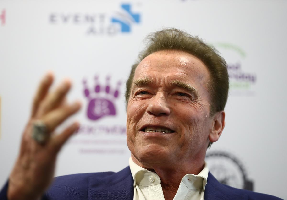 Arnold Schwarzenegger speaks during a press conference at The Melbourne Convention and Exhibition Centre