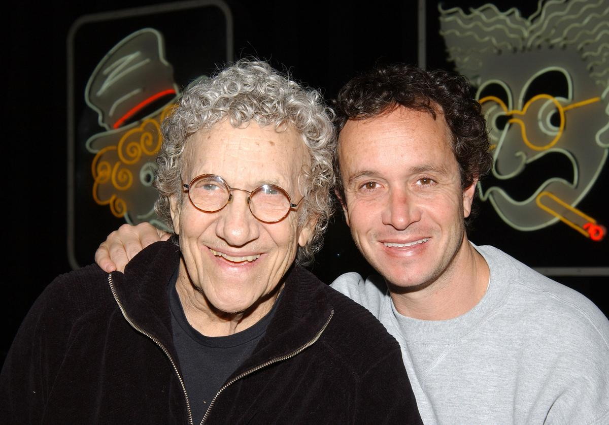 Sammy Shore and his son, Comedian Pauley Shore at the The Comedy Store in Hollywood, California