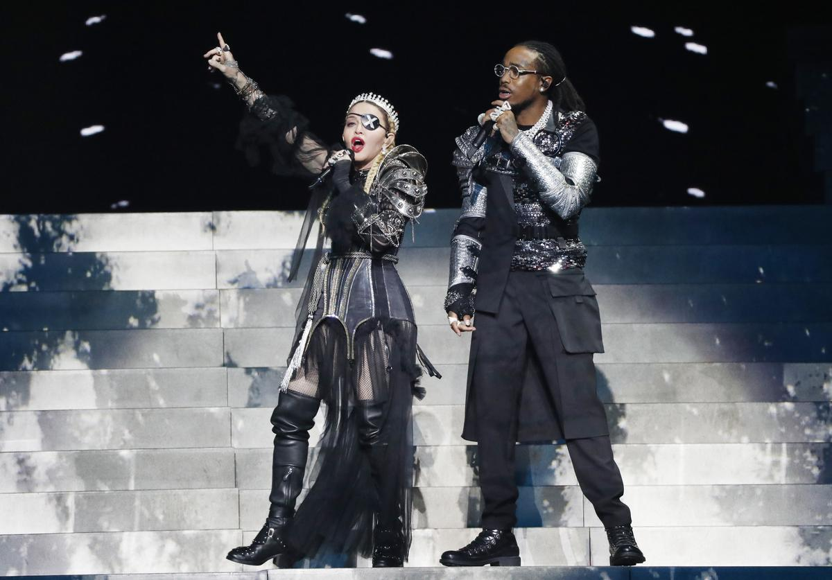 Madonna and Quavo, perform live on stage after the 64th annual Eurovision Song Contest held at Tel Aviv Fairgrounds on May 18, 2019 in Tel Aviv, Israel.