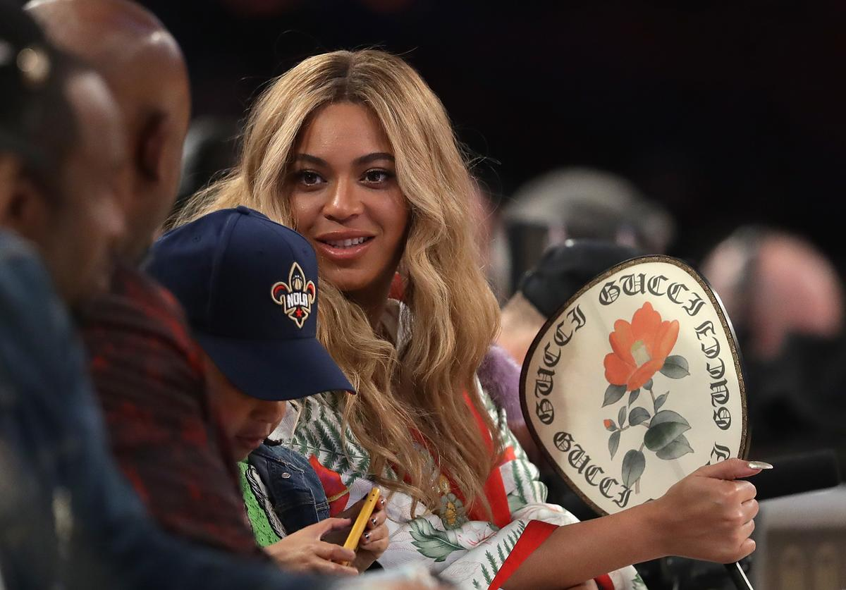 Beyonce attends the 2017 NBA All-Star Game at Smoothie King Center