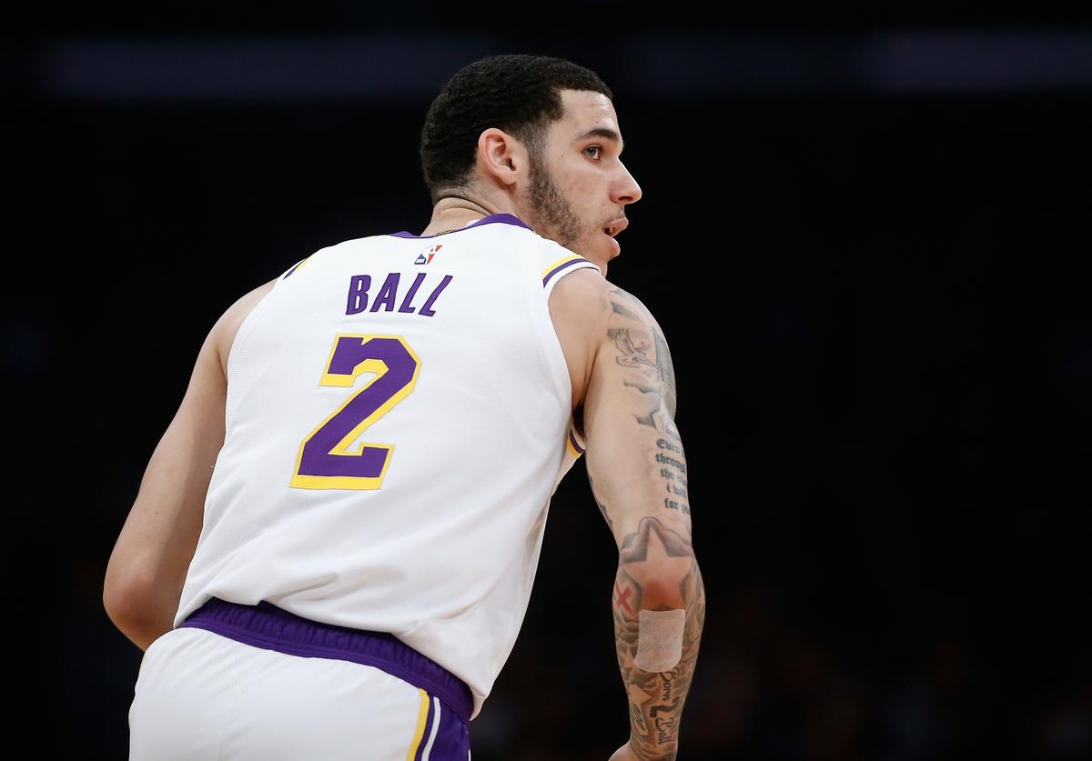 Lonzo Ball #2 of the Los Angeles Lakers looks on after taking a shot during the first half of a game against the Cleveland Cavaliers at Staples Center on January 13, 2019 in Los Angeles, California. NOTE TO USER: User expressly acknowledges and agrees that, by downloading and or using this photograph, User is consenting to the terms and conditions of the Getty Images License Agreement.