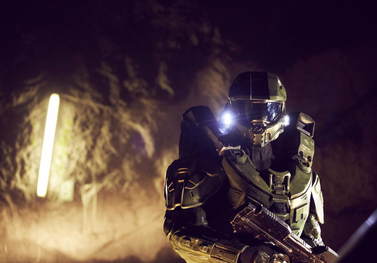 Master Chief walks through the mine during the HALO 4 launch by Xbox 360 on October 29, 2012 in Balzers, Liechtenstein. Xbox 360 became the only brand to ever transform the Principality of Liechtenstein by taking over iconic landmarks, including a 13th century castle to create a real-life 'Halo' universe within the heart of Europe. Halo 4 on the Xbox will be launched on November 6, 2012.