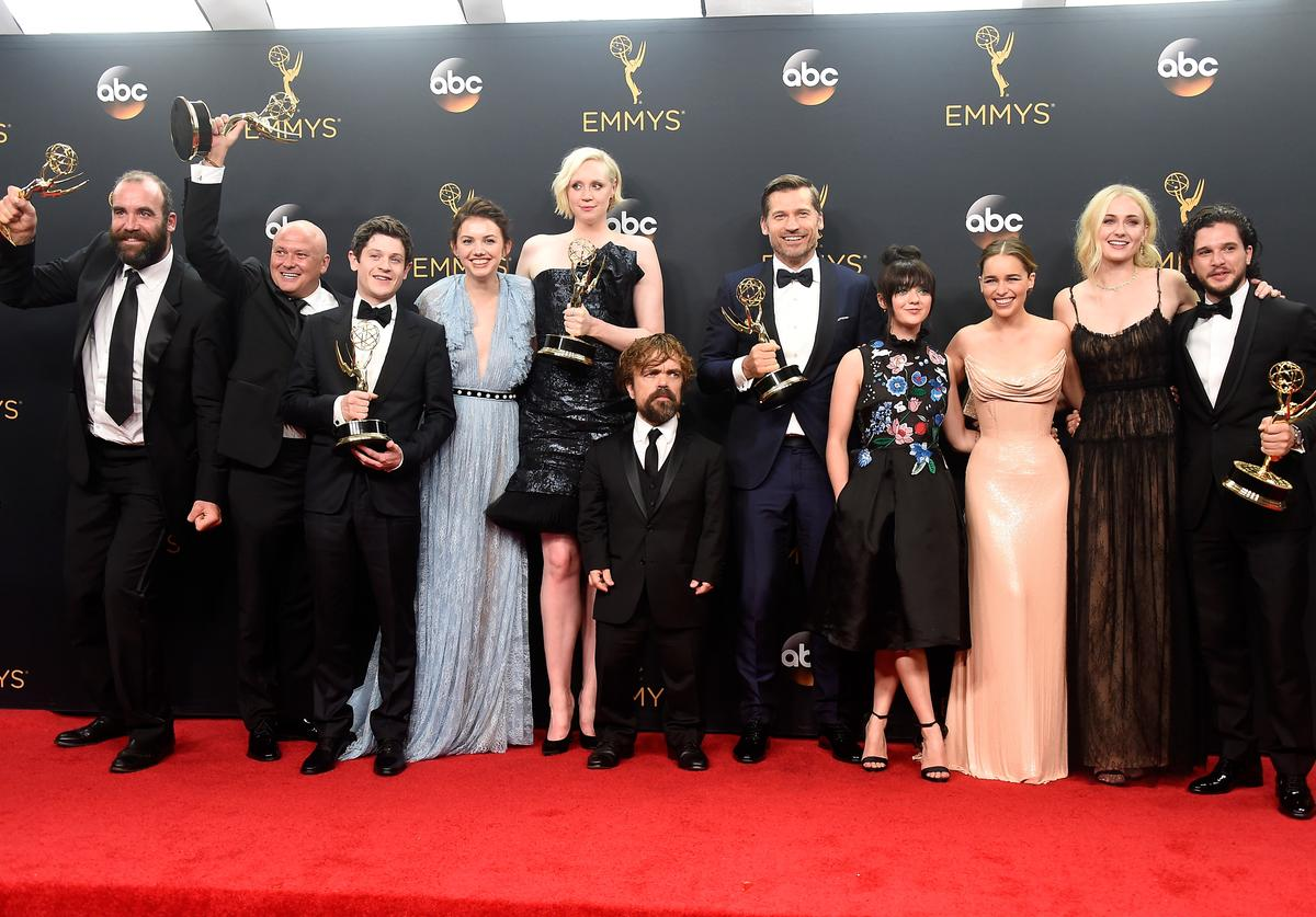 """Rory McCann, Conleth Hill, Iwan Rheon, Gwendoline Christie, Peter Dinklage, Nikolaj Coster-Waldau, Maisie Williams, Emilia Clarke, Sophie Turner and Kit Harington, winners of Best Drama Series for """"Game of Thrones"""", pose in the press room during the 68th Annual Primetime Emmy Awards at Microsoft Theater on September 18, 2016 in Los Angeles, California"""