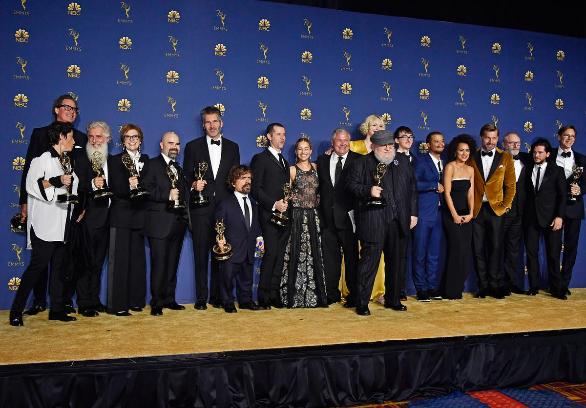 Cast and crew of Outstanding Drama Series winner 'Game of Thrones'