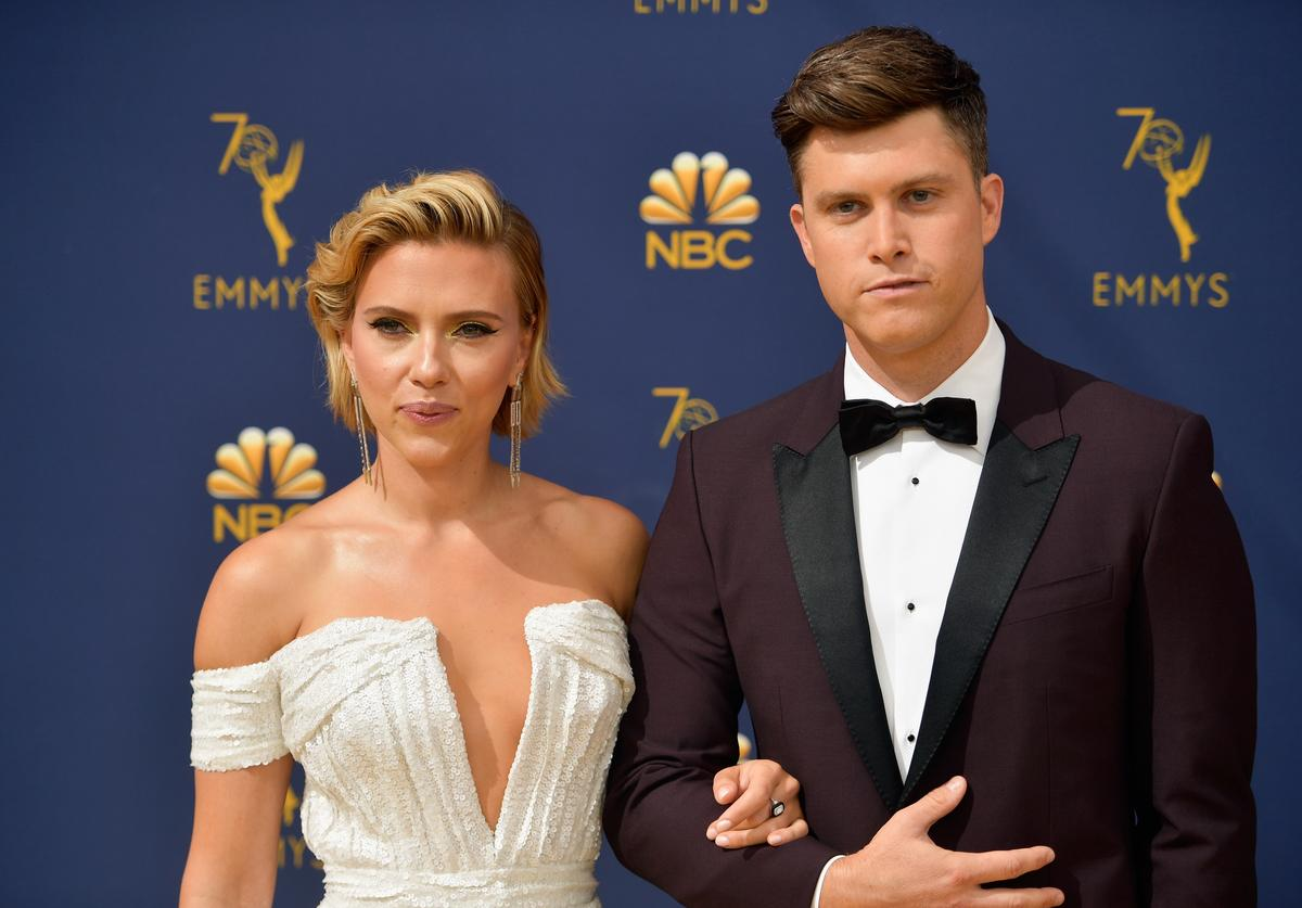 Scarlett Johansson and Colin Jost attend the 70th Emmy Awards at Microsoft Theater on September 17, 2018 in Los Angeles, California