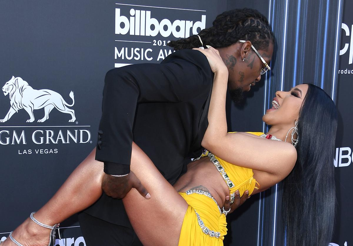 Offset and Cardi B arrives at the Billboard Music Awards at MGM Grand Garden Arena on May 01, 2019 in Las Vegas, Nevada