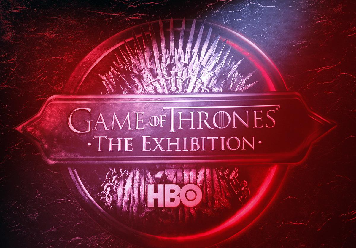 "The logo of the TV serie ""Games of Thrones"" is displayed during the opening of an exhibition"