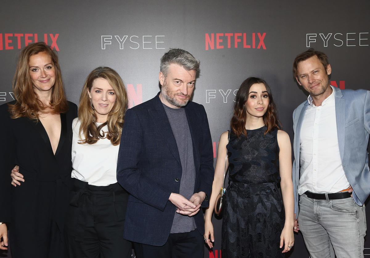 """Maja Meschede, Annabel Jones, Charlie Brooker, Cristin Milioti and Jimmi Simpson attend the FYSEE Event for Netflix's """"Black Mirror"""" at Netflix FYSEE At Raleigh Studios on June 6, 2018 in Los Angeles, California."""