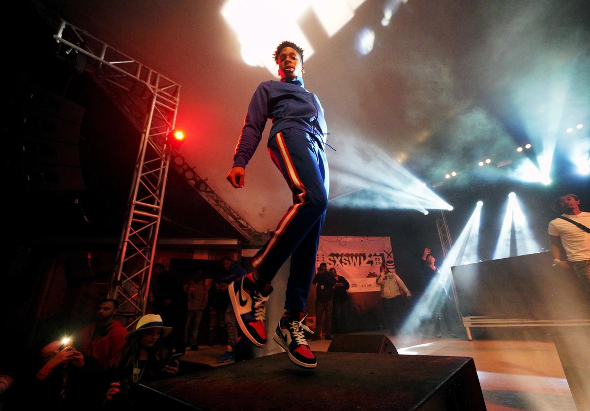 NLE Choppa performs onstage at DNES Marketing during the 2019 SXSW Conference and Festivals at Stubbs on March 15, 2019 in Austin, Texas