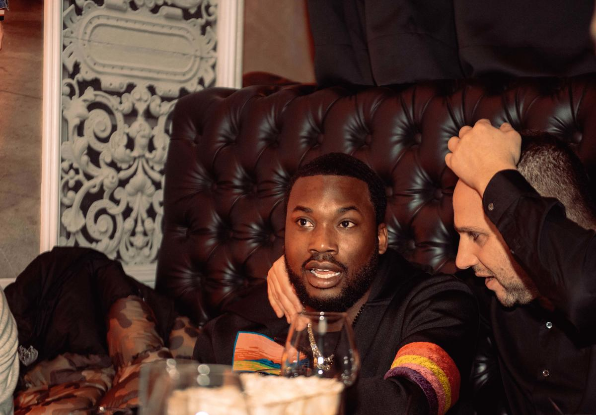Meek Mill and member of the Philadelphia 76ers ownership group Michael Rubin attend the Klutch 2019 All Star Weekend Dinner