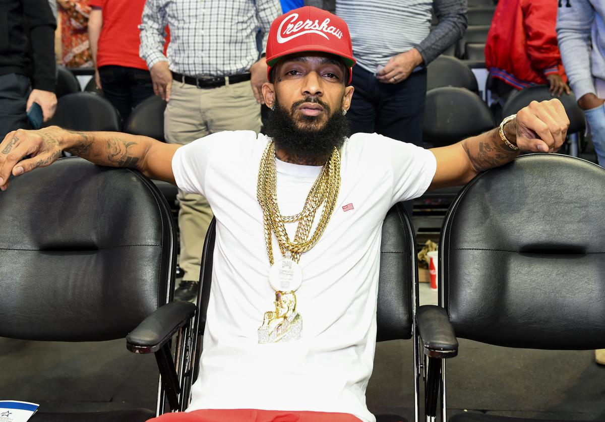 Nipsey Hussle attends a basketball game between the Los Angeles Clippers and the Denver Nuggets at Staples Center on January 17, 2018 in Los Angeles, California