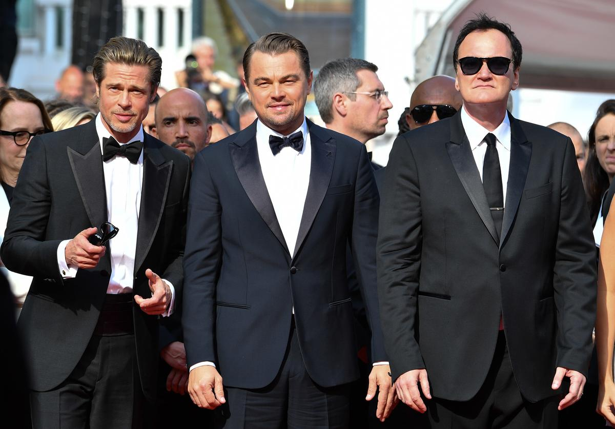 """Brad Pitt, Leonardo DiCaprio and Quentin Tarantino attend the screening of """"Once Upon A Time In Hollywood"""" during the 72nd annual Cannes Film Festival on May 21, 2019 in Cannes, France."""