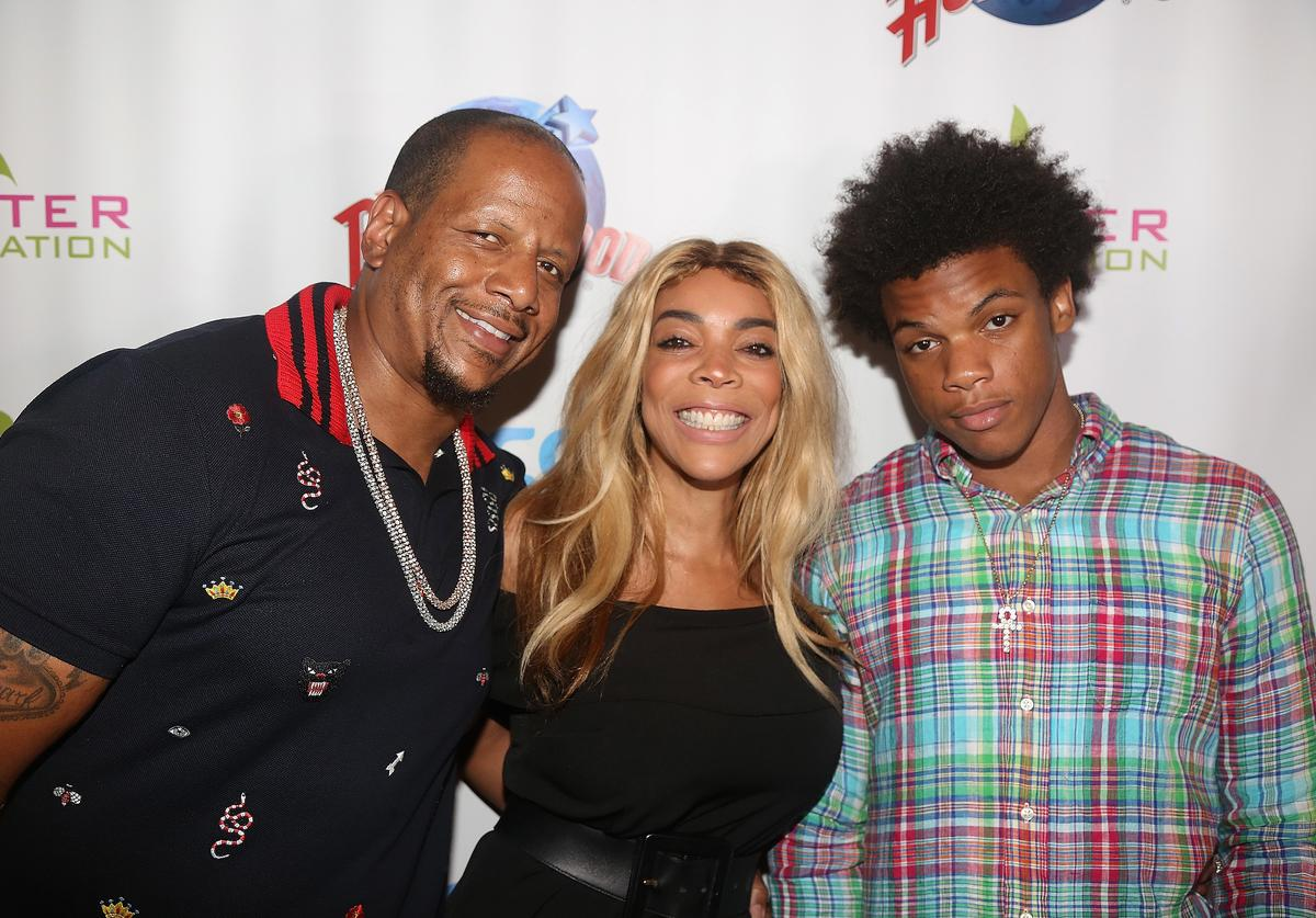 Kevin Hunter, wife Wendy Williams and son Kevin Hunter Jr pose at a celebration for The Hunter Foundation Charity that helps fund programs for families and youth communities in need of help and guidance at Planet Hollywood Times Square on July 11, 2017 in New York City.