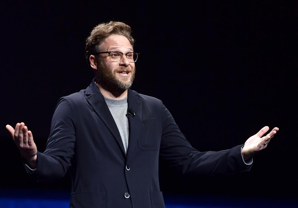 "Seth Rogen speaks onstage at CinemaCon 2019 Lionsgate Invites You to An Exclusive Presentation and Screening of ""Long Shot"" at The Colosseum at Caesars Palace during CinemaCon, the official convention of the National Association of Theatre Owners, on April 4, 2019 in Las Vegas, Nevada."