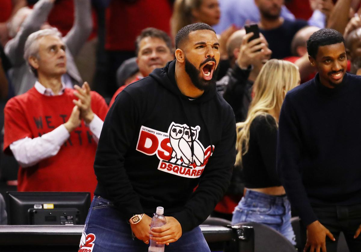 Rapper Drake reacts during game four of the NBA Eastern Conference Finals between the Milwaukee Bucks and the Toronto Raptors at Scotiabank Arena on May 21, 2019 in Toronto, Canada.