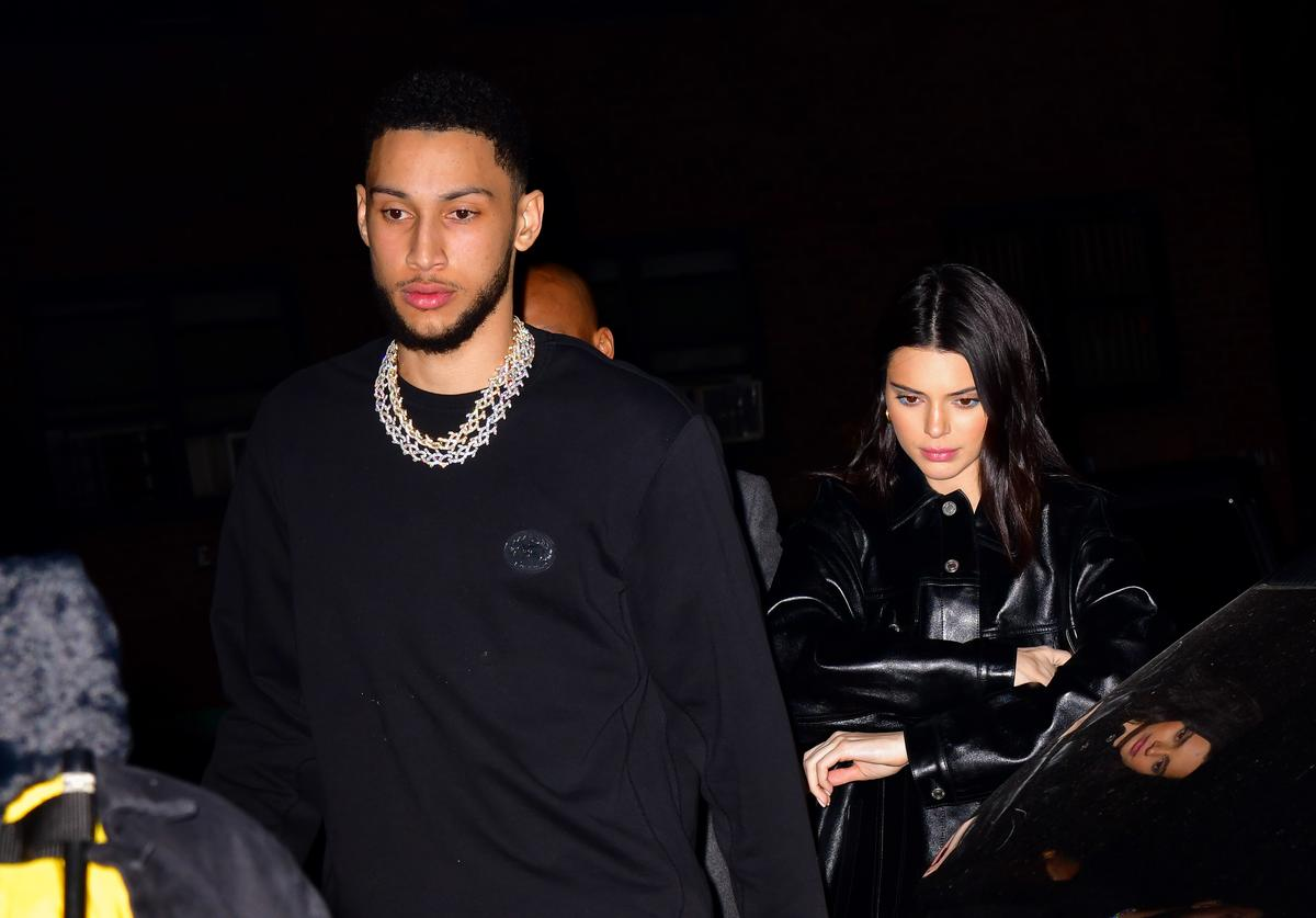 Ben Simmons and Kendall Jenner arrive to Marquee New York on February 14, 2019 in New York City