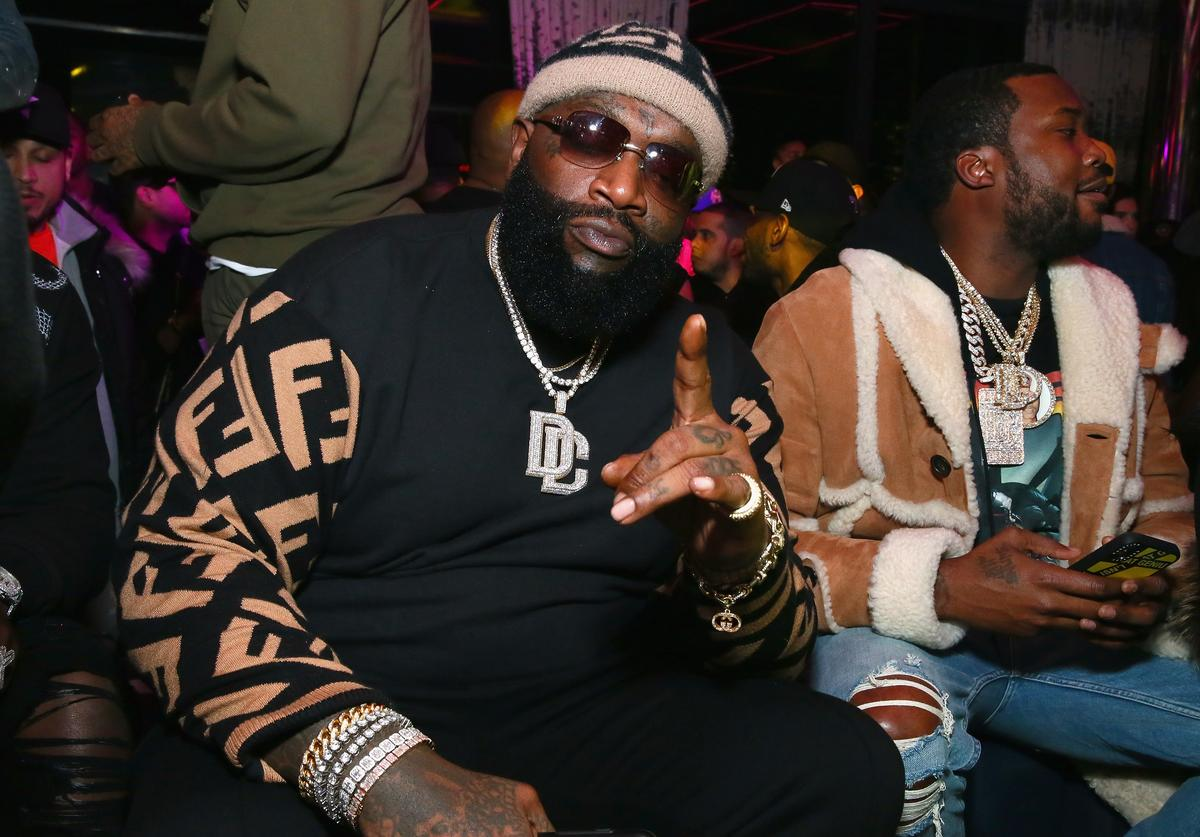 Rappers Rick Ross and Meek Milll attend Meek Mill and PUMA celebrate CHAMPIONSHIPS album release party at PHD at the Dream Downtown on November 29, 2018 in New York City.