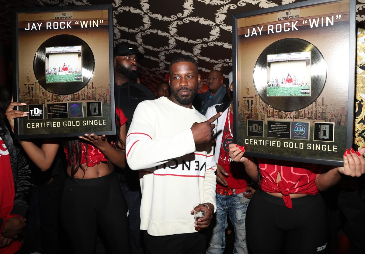 "Jay Rock receives a Gold plaque for his Single ""Win"" during his birthday at The Novo VIP Lounge on March 29, 2019 in Los Angeles, California."