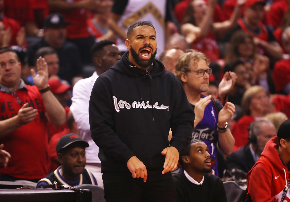 Rapper Drake attends game six of the NBA Eastern Conference Finals between the Milwaukee Bucks and the Toronto Raptors at Scotiabank Arena on May 25, 2019 in Toronto, Canada.