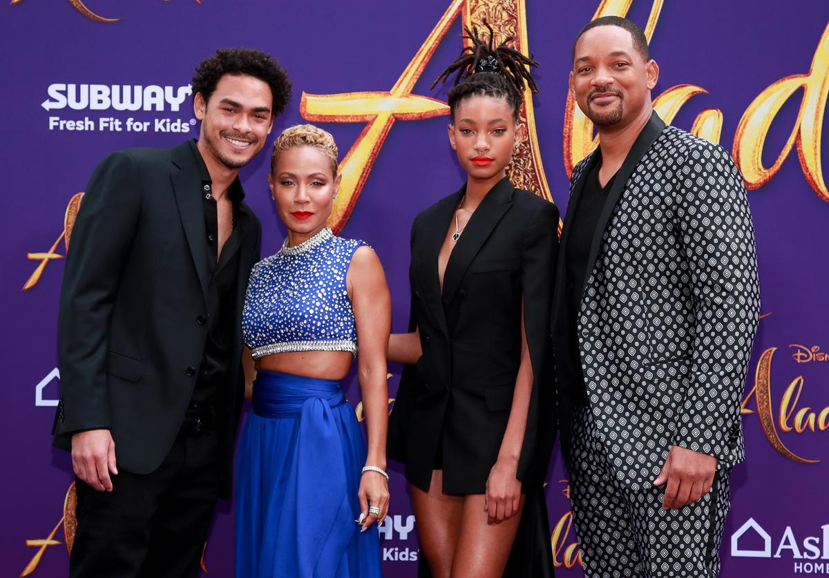 """Trey Smith, Jada Pinkett Smith, Willow Smith, and Will Smith attend the premiere of Disney's """"Aladdin"""" on May 21, 2019 in Los Angeles, California."""