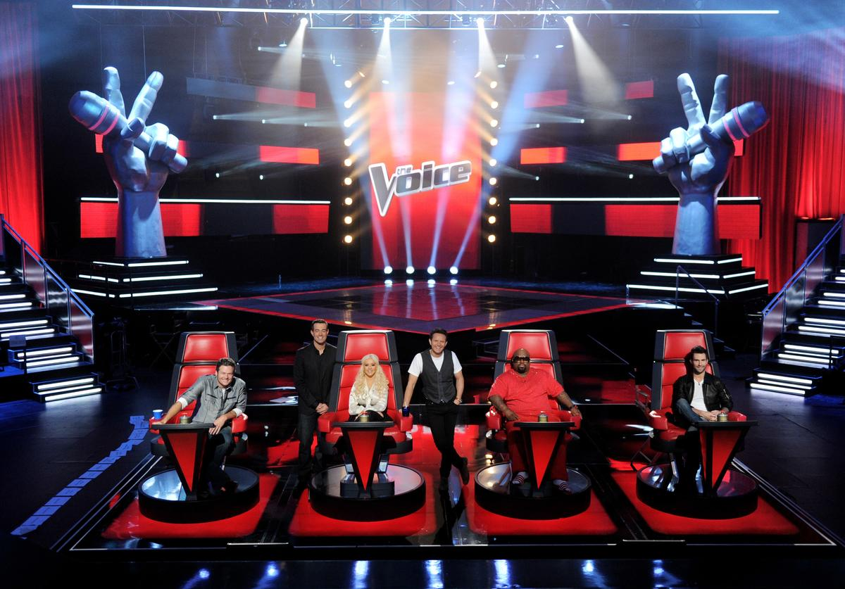 """Blake Shelton, host Carson Daly, singer Christina Aguilera, executive producer Mark Burnett, singers Cee Lo Green and Adam Levine appear at a press junket for NBC's """"The Voice"""" at Sony Studios on October 28, 2011 in Culver City, California"""