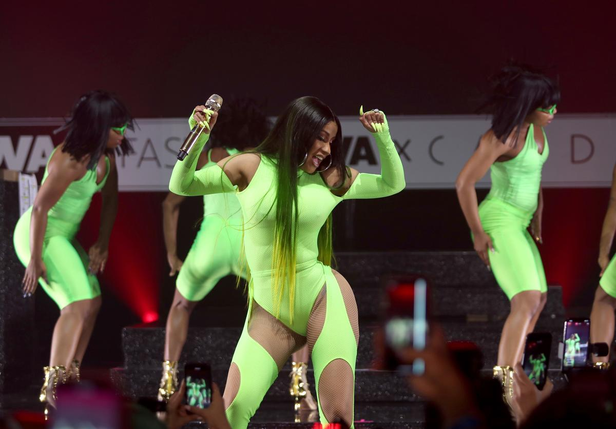Cardi B performs onstage as Fashion Nova Presents: Party With Cardi at Hollywood Palladium