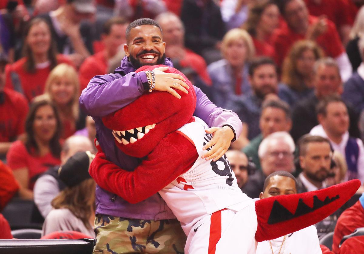 Rapper Drake attends game three of the NBA Eastern Conference Finals between the Milwaukee Bucks and the Toronto Raptors at Scotiabank Arena on May 19, 2019 in Toronto, Canada.