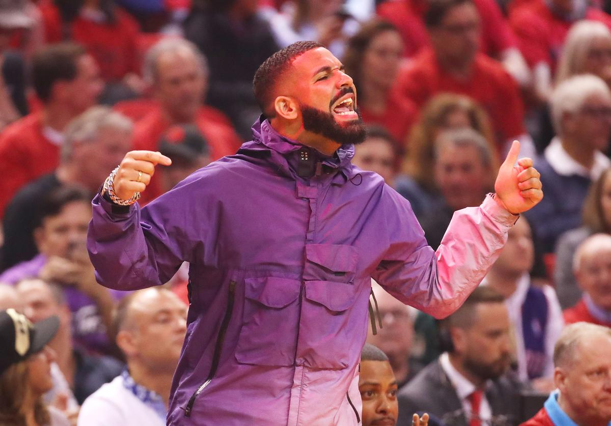 Drake attends game three of the NBA Eastern Conference Finals between the Milwaukee Bucks and the Toronto Raptors at Scotiabank Arena on May 19, 2019 in Toronto, Canada