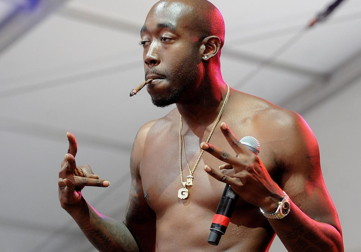 Hip Hop artist Freddie Gibbs performs on stage at the SKYY Vodka Stage At Governors Ball - Day 3 at Randall's Island on June 9, 2013 in New York City.
