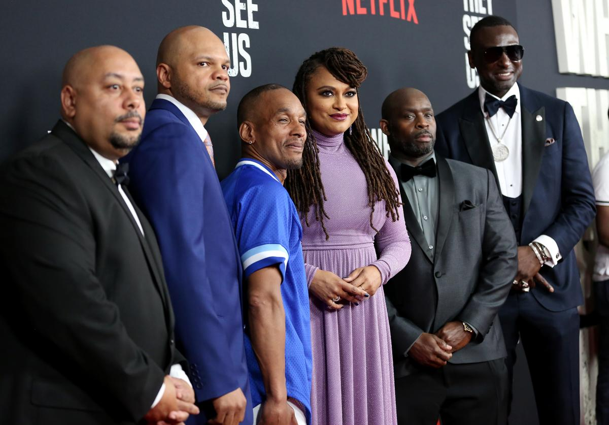 "Raymond Santana Jr., Kevin Richardson, Korey Wise, Ava DuVernay, Antron Mccray, and Yusef Salaam attend the World Premiere of Netflix's ""When They See Us"""