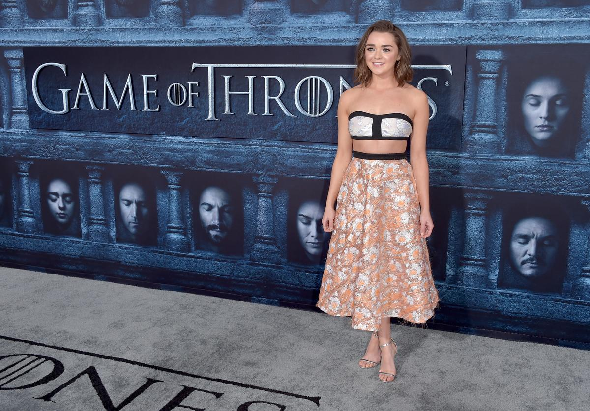 "ctress Maisie Williams attends the premiere of HBO's ""Game Of Thrones"" Season 6 at TCL Chinese Theatre"