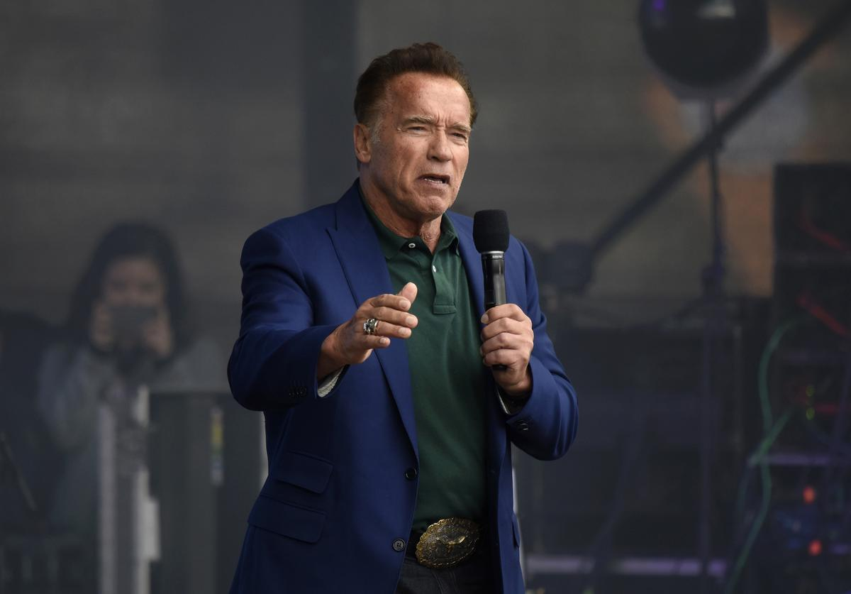 Arnold Schwarzenegger, founder of the R20, speaks at the Climate Kirtag portion of the R20 Austrian World Summit on May 28, 2019 in Vienna, Austria