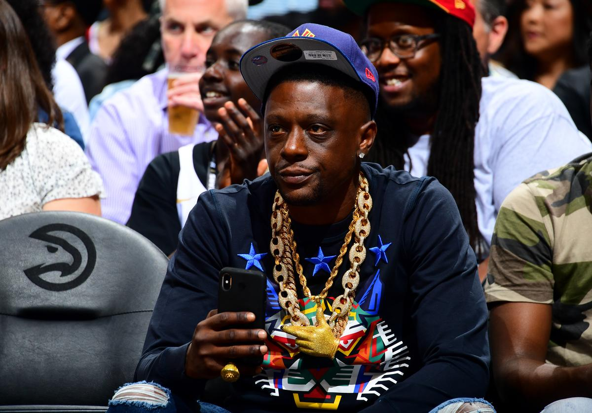 Rapper, Lil Boosie is seen at the game between the Atlanta Hawks and the Indiana Pacers on April 10, 2019 at State Farm Arena in Atlanta, Georgia.