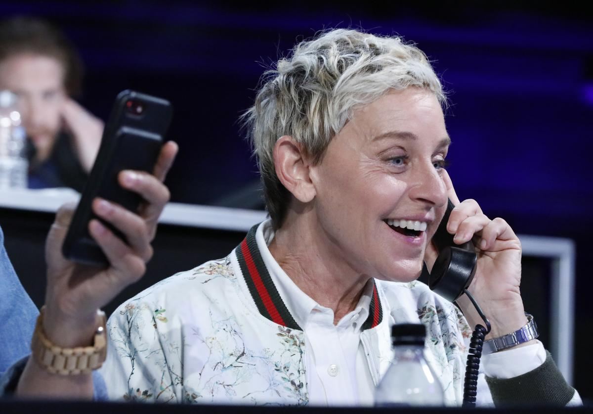 "In this handout photo provided by One Voice: Somos Live!, Ellen DeGeneres participates in the phone bank during ""One Voice: Somos Live!"