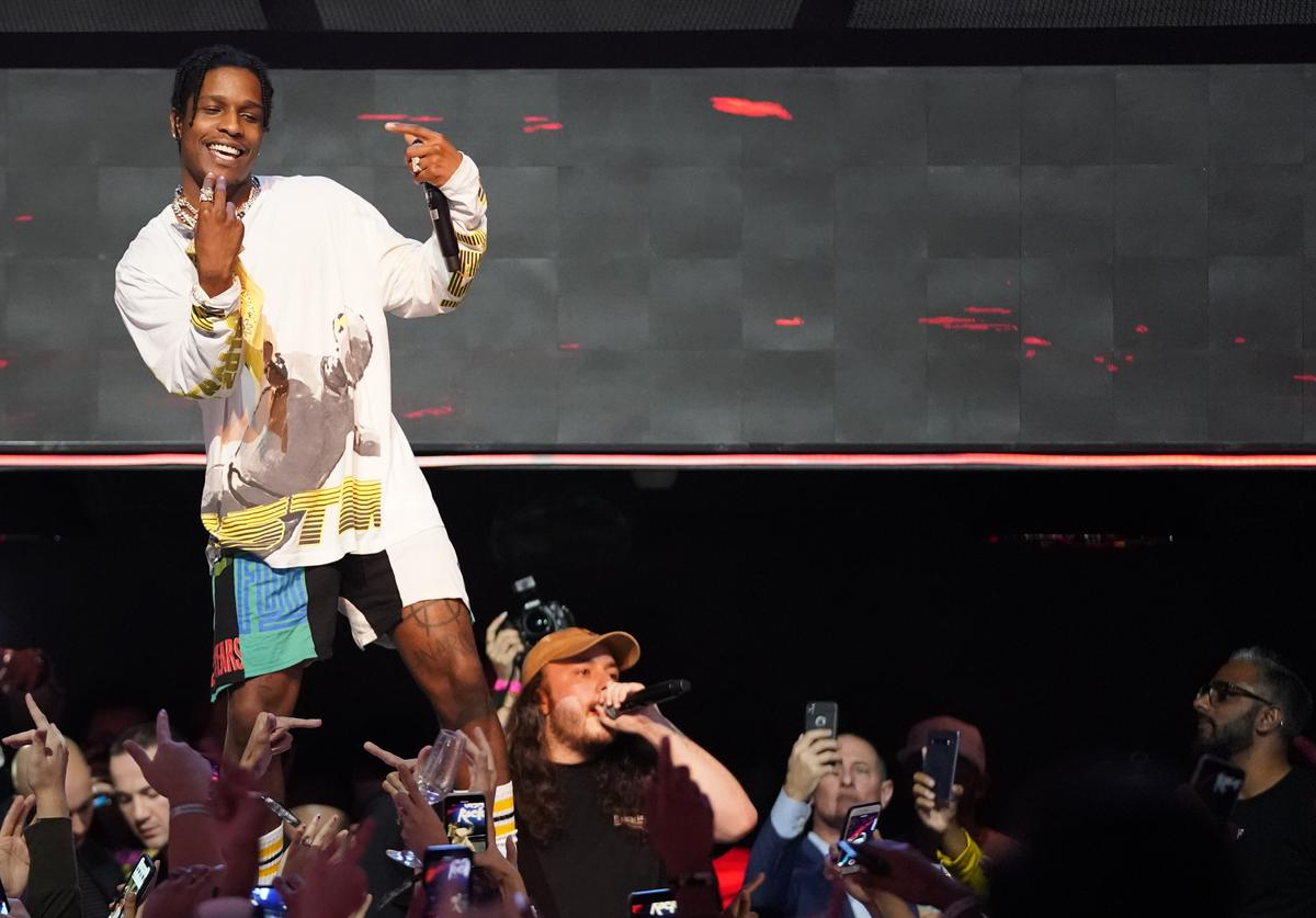 A$AP Rocky performs at the MARQUEE Singapore grand opening celebration on April 13, 2019 in Singapore.