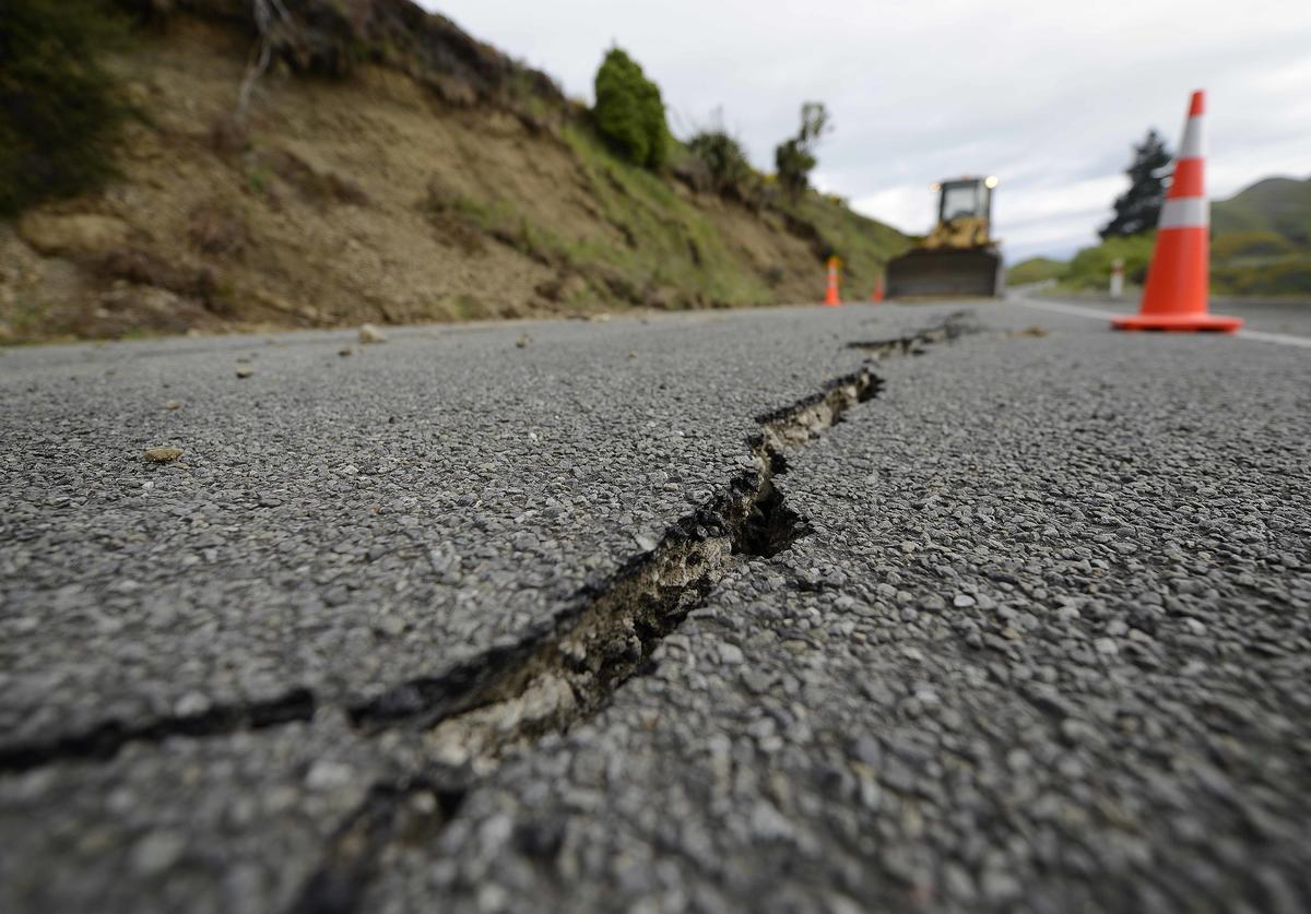 Large cracks are seen on Highway 7 following a 7.5 magnitude earthquake on November 14, 2016 near Hanmer Springs, New Zealand. The 7.5 magnitude earthquake struck 20km south-east of Hanmer Springs at 12.02am and triggered tsunami warnings for many coastal areas.
