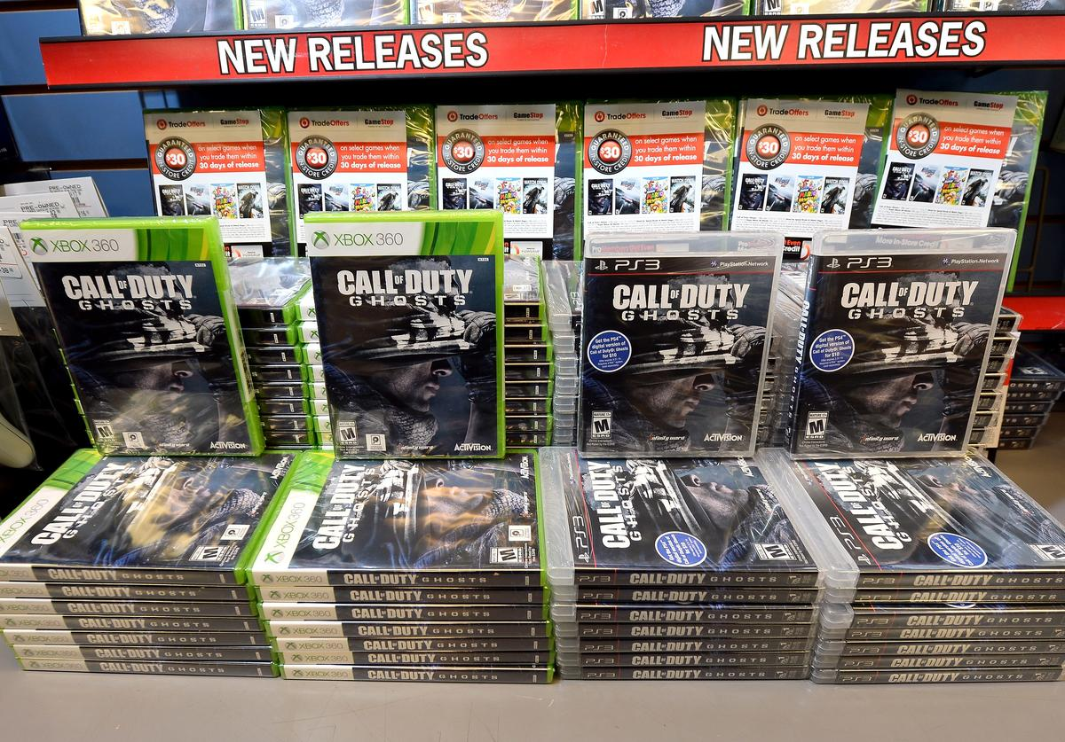 """Copies of """"Call of Duty: Ghosts"""" are displayed during a launch event for the highly anticipated video game at a GameStop Corp. store on November 4, 2013 in North Las Vegas, Nevada"""