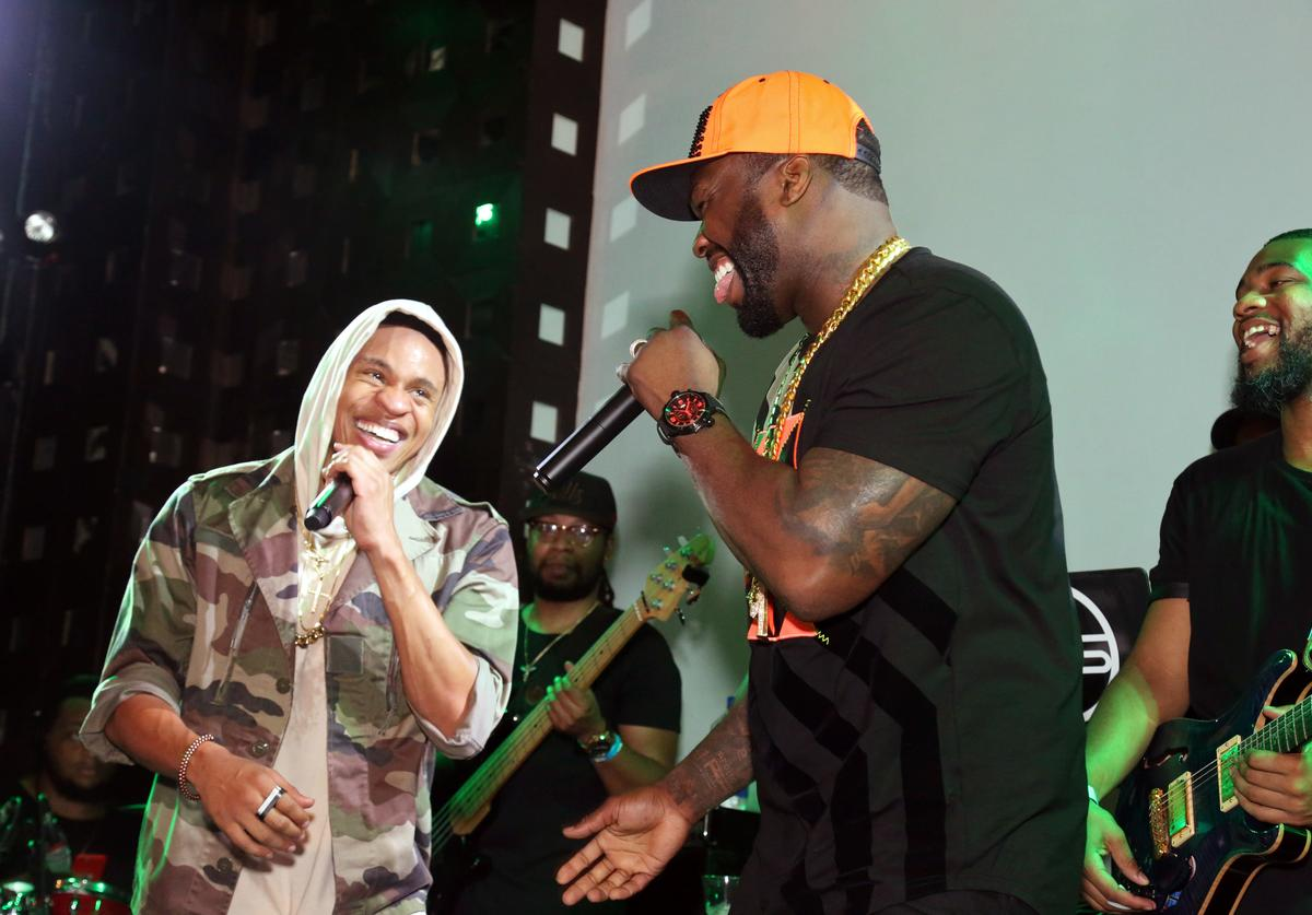 Rotimi and 50 Cent perform at SOB's on August 18, 2016 in New York City