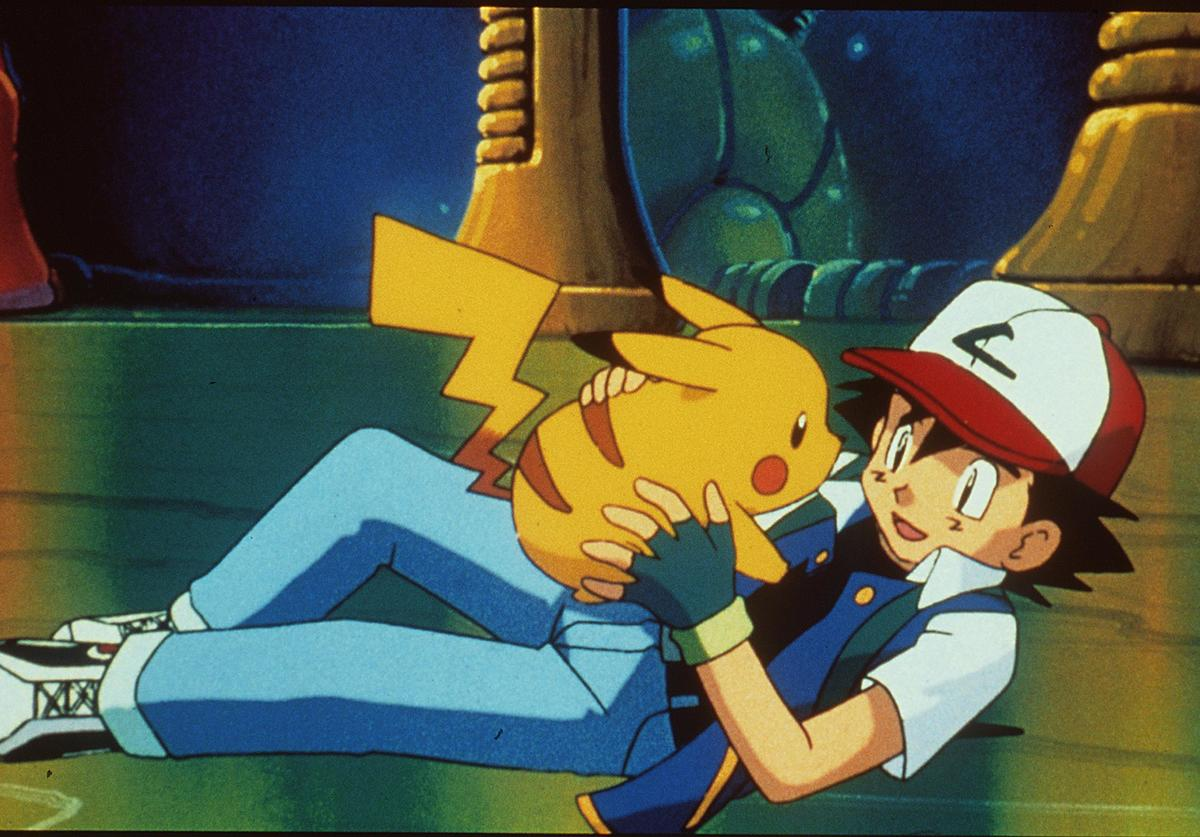 "1999 Pikachu And Ash In The Animated Movie ""Pokemon:The First Movie."""