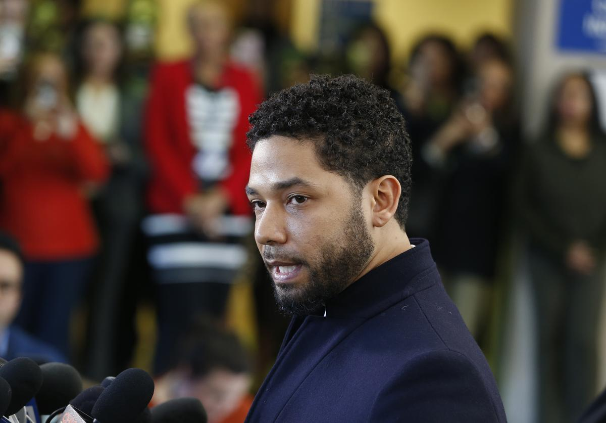 Actor Jussie Smollett speaks with members of the media after his court appearance at Leighton Courthouse on March 26, 2019 in Chicago, Illinois. This morning in court it was announced that all charges were dropped against the actor.
