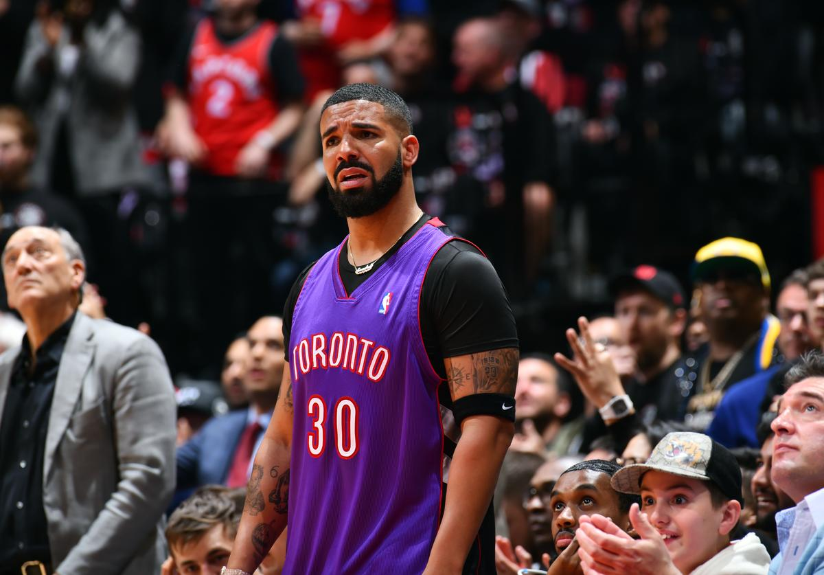 Drake, looks on during a game between the Golden State Warriors and the Toronto Raptors during Game One of the NBA Finals on May 30, 2019 at Scotiabank Arena in Toronto, Ontario, Canada