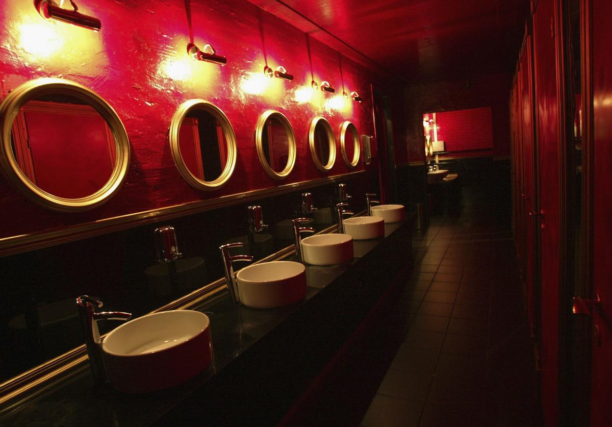 The ladies/men's restroom in First club on September 8, 2005 in Moscow, Russia