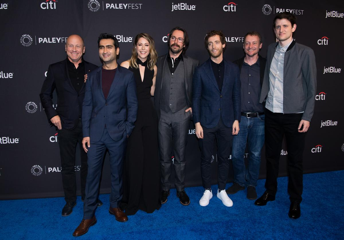 Mike Judge, Kumail Nanjiani, Amanda Crew, Martin Starr, Thomas Middleditch, Alec Berg, and Zach Woods attend the 2018 PaleyFest Los Angeles - HBO's 'Silicon Valley' at Dolby Theatre on March 18, 2018 in Hollywood, California.