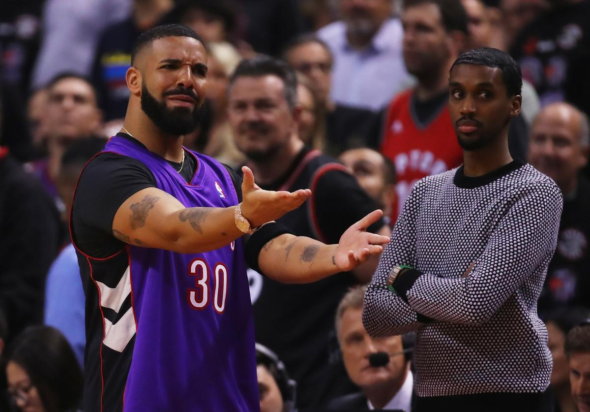 Drake reacts during Game One of the 2019 NBA Finals between the Golden State Warriors and the Toronto Raptors