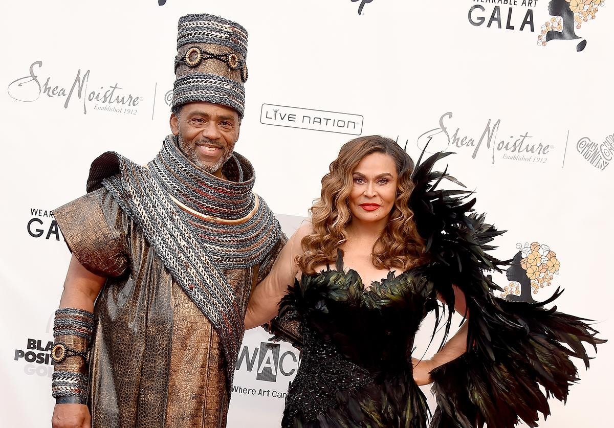Richard Lawson and Tina Knowles-Lawson arrive at the WACO Theater Center's 3rd Annual Wearable Art Gala at The Barker Hangar at Santa Monica Airport on June 1, 2019 in Santa Monica, California.