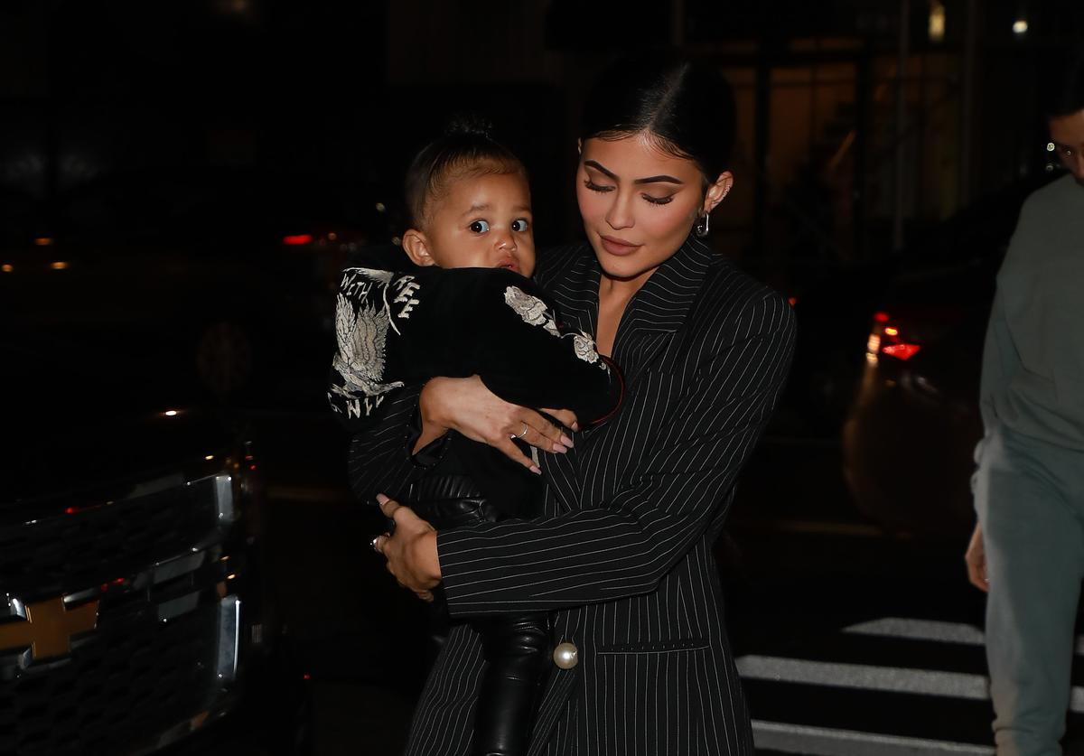 Kylie Jenner and daughter Stormi Webster arrive at Nobu restaurant on May 03, 2019 in New York City