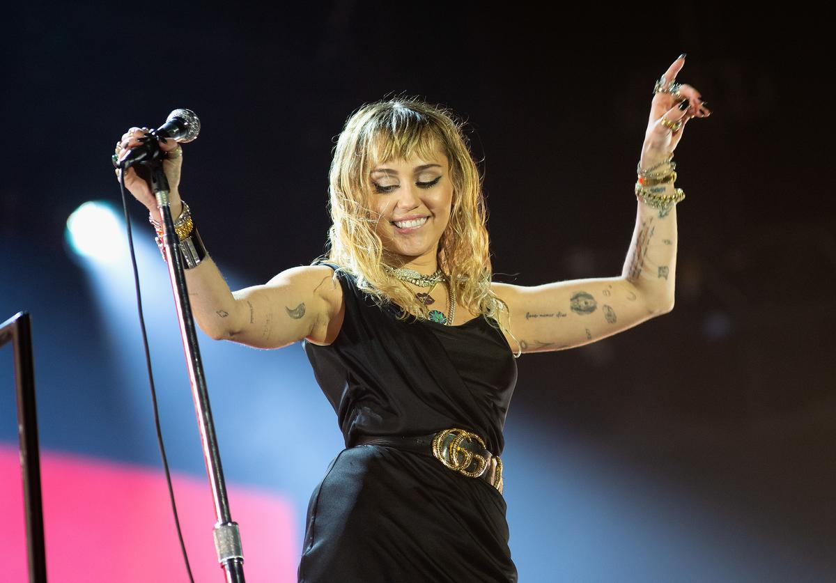 Miley Cyrus performs at the Radio 1 Big Weekend at Stewart Park on May 25, 2019 in Middlesbrough, England
