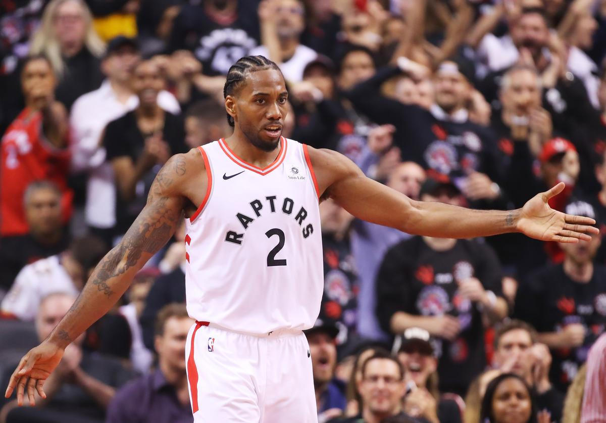 Kawhi Leonard #2 of the Toronto Raptors reacts against the Golden State Warriors in the second quarter during Game One of the 2019 NBA Finals at Scotiabank Arena on May 30, 2019 in Toronto, Canada. NOTE TO USER: User expressly acknowledges and agrees that, by downloading and or using this photograph, User is consenting to the terms and conditions of the Getty Images License Agreement.