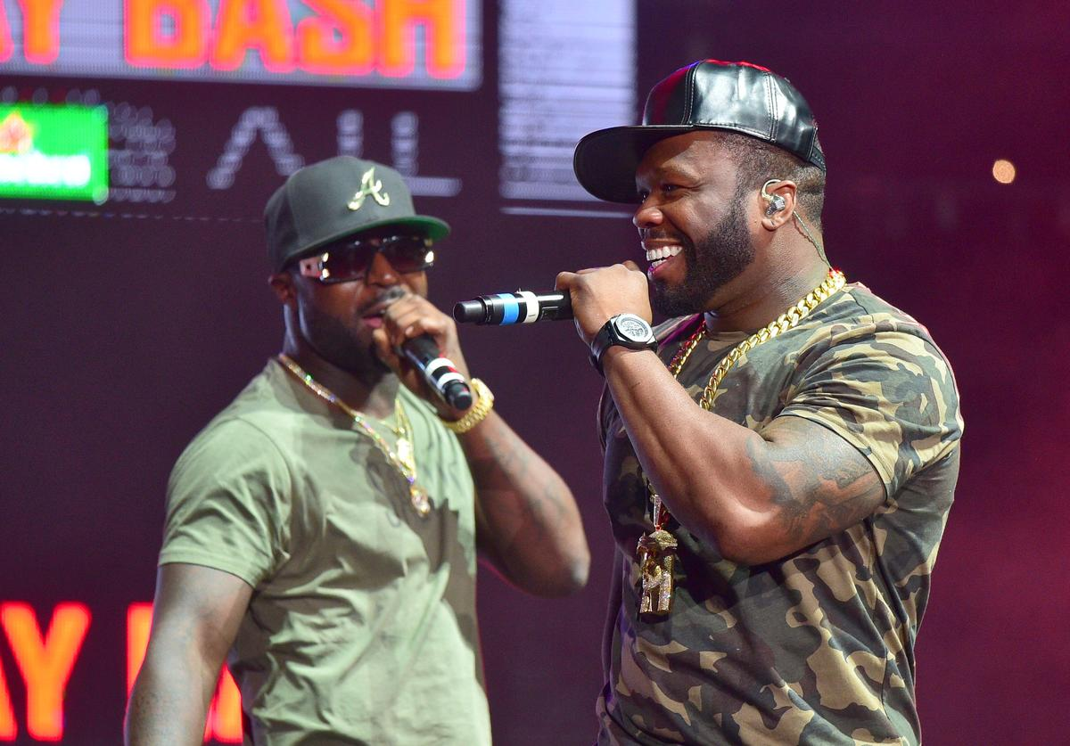 Young Buck and 50 Cent performs at Birthday Bash ATL The Heavyweights of HIP HOP Live in Concert at Philips Arena on June 18, 2016 in Atlanta, Georgia