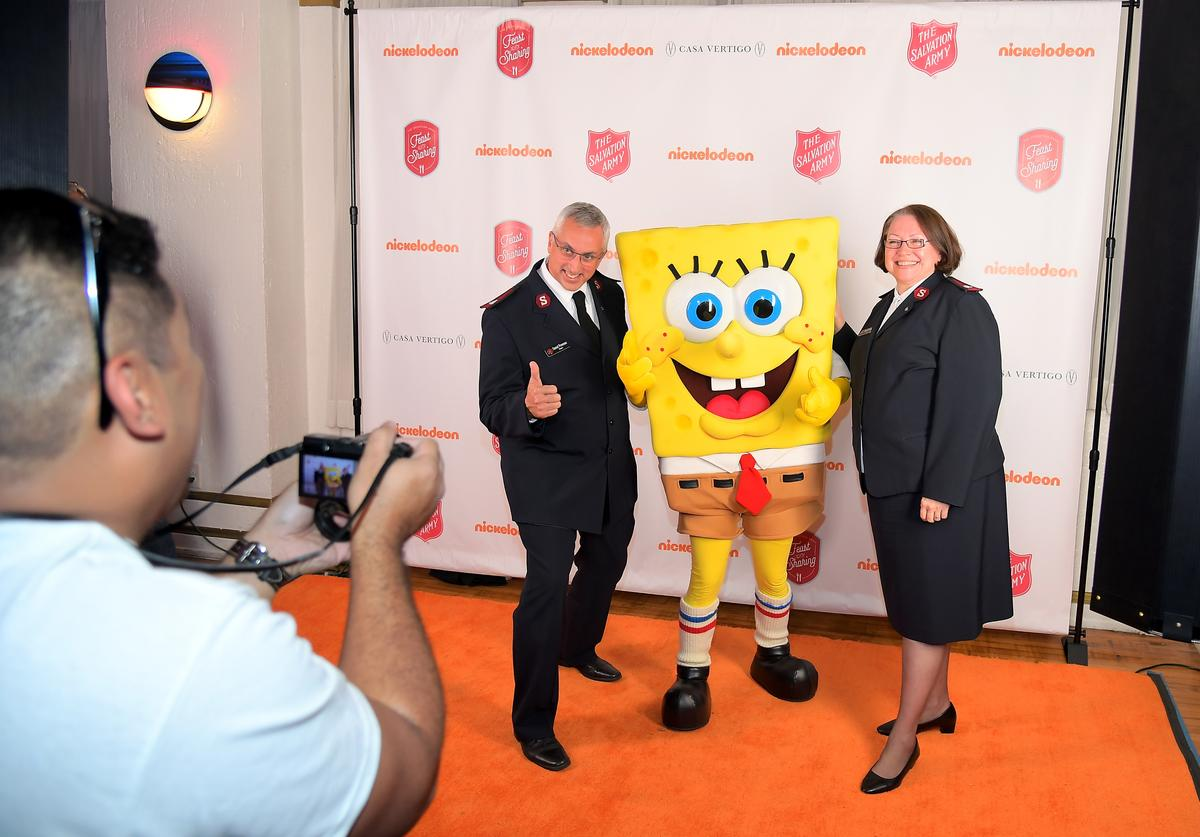 Guests pose with Spongebob Squarepants at The Salvation Army